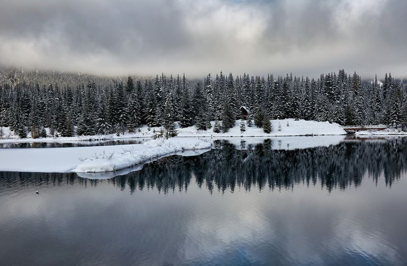зима, озеро, отражение, снег, белый, пейзаж, лес, деревья Зимние отраженияphoto preview