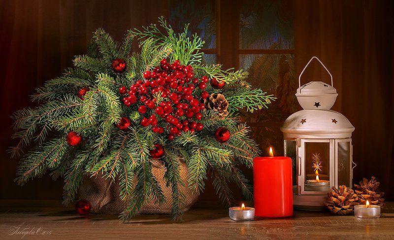 ель,фонарь,свечи,праздник,новый год,сосна С наступающим Новым годом!photo preview