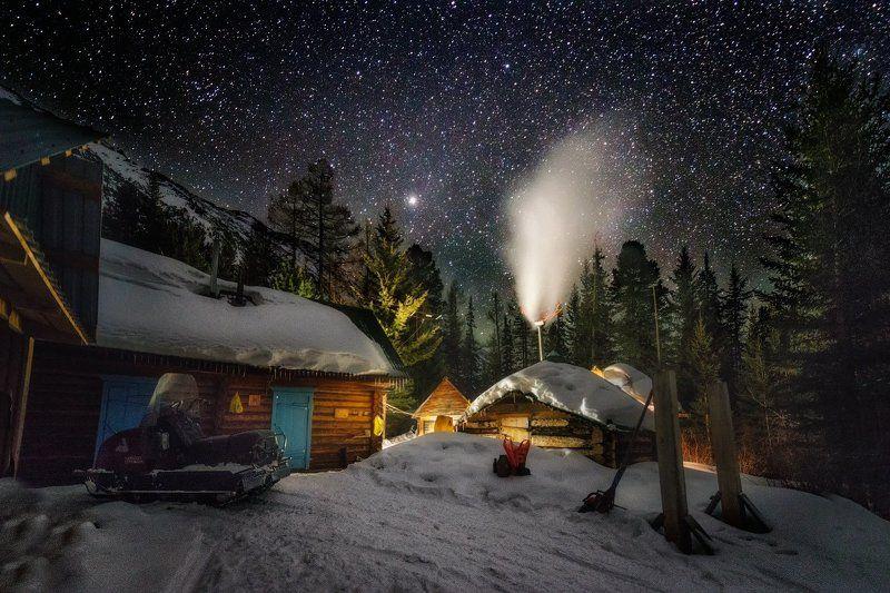 сказка, зима, горы, заповедник, новый год, избушки \