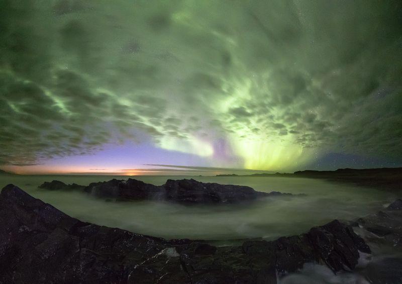 северное сияние,полярная ночь,рыбачий,баренцево море Магия полярной ночи.photo preview