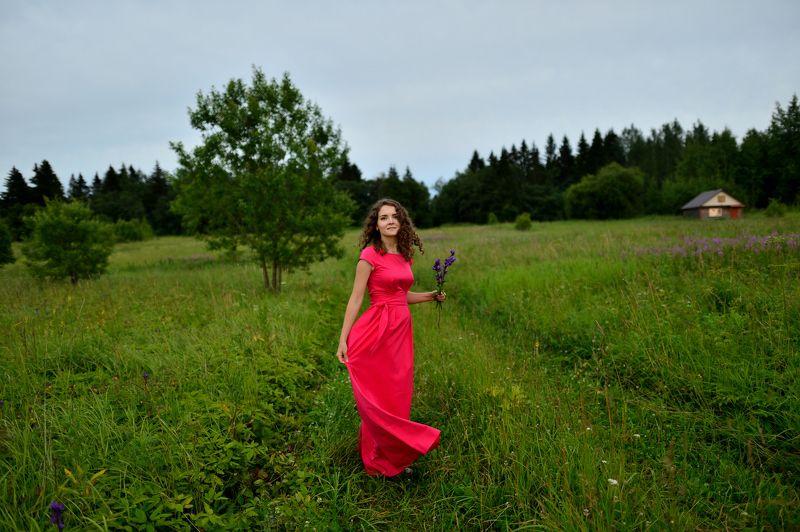 девушка, лето, зеленая трава, красное платье, в красном платье, красивая, Романтика летаphoto preview