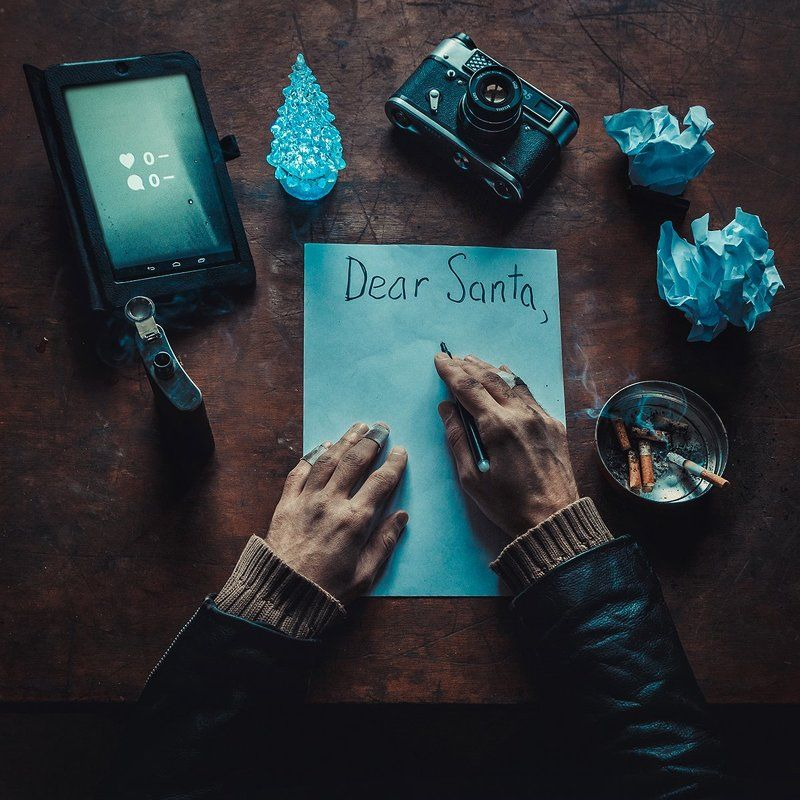 xmas,santa,letter,photographer,camera,hands,new year,greetings,cigarette,joke Letter to Santaphoto preview