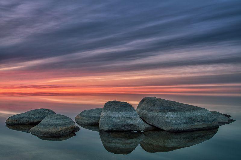 тишина, штиль, закат, камни, вода, озеро Silencephoto preview