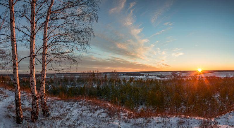 зимний лес,пейзаж,закат В канун Рождества.photo preview