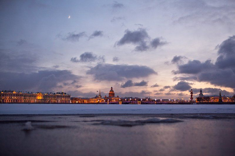 санкт-петербург, зима, мороз, закат, огни, рождество, город рождествоphoto preview