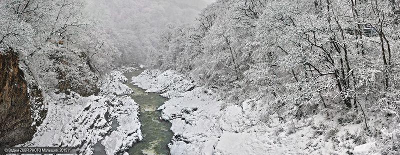 кавказ, адыгея, zubr-photo,зима, река, снег, лес Белая - Белаяphoto preview