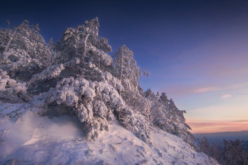 крым, демерджи, зима, снег, закат Провожая солнцеphoto preview