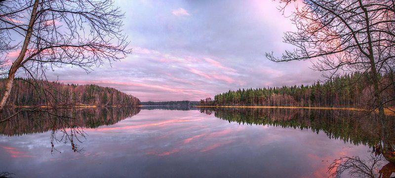 пейзаж,закат, небо, облака, озеро, карельский перешеек, панорама Розовый закатphoto preview