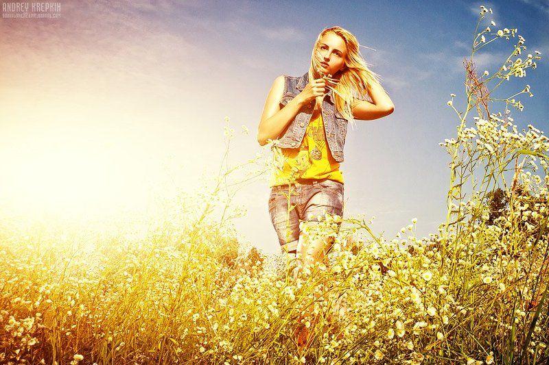настя, девушка, поле, цветы, фотошоп ***photo preview