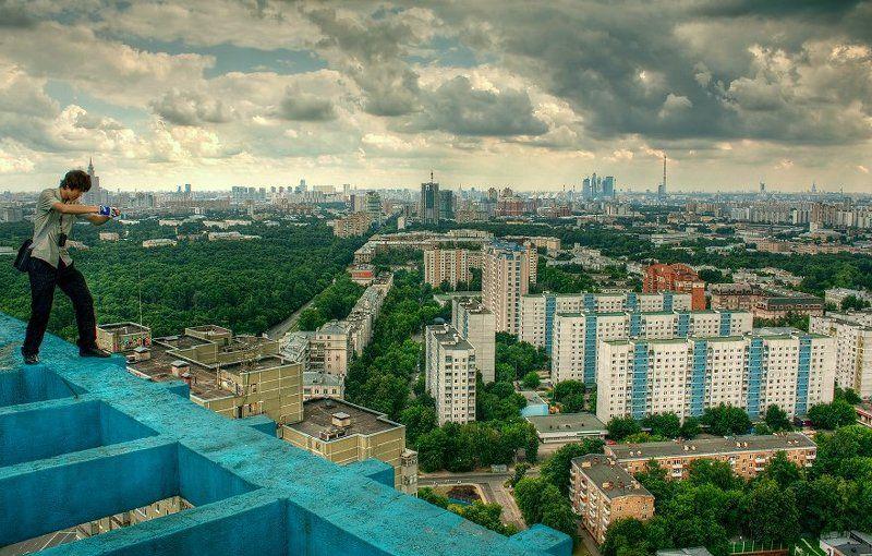 крыша, крыши, город, москва, день, облака, небо, тучи, лето В процессе съёмкиphoto preview