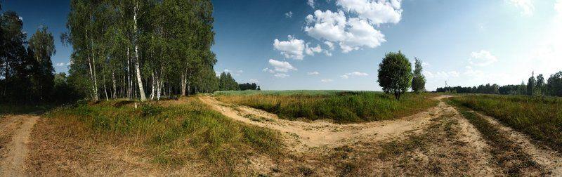 панорама, лес, поле, дорога Перекрёсток.photo preview