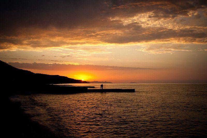 закат, море, лето, пара, вода, крым photo preview