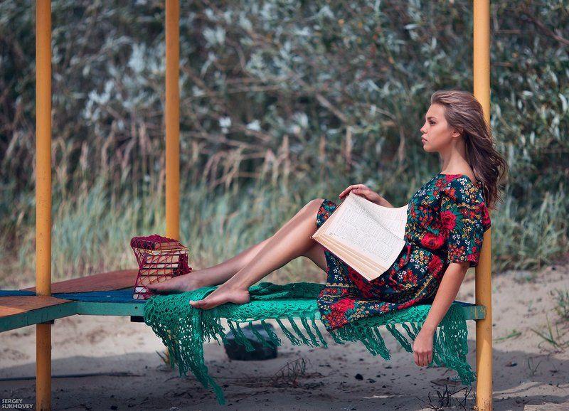 лето, книга, девушка с книгой, чтение, ретро платье ***photo preview