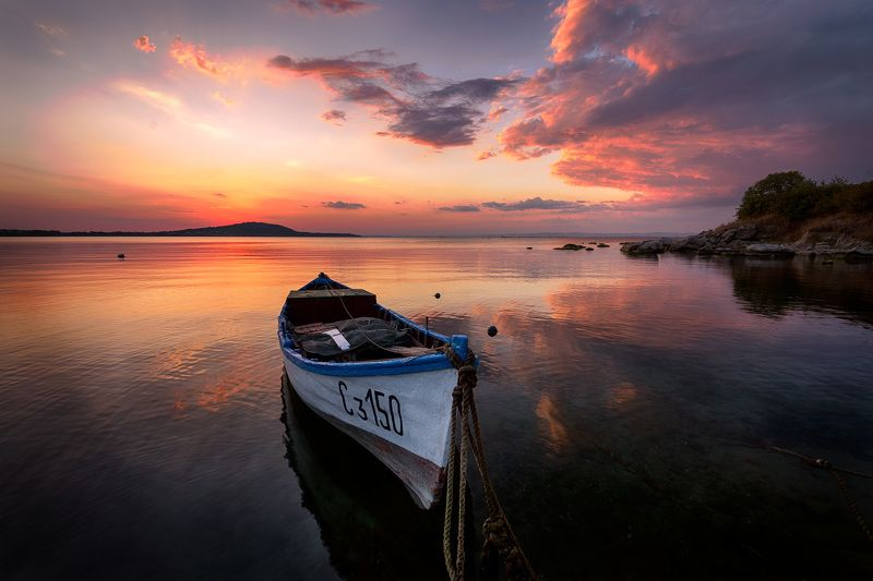 boat, sunset, reflections, red Лодка дядя Иван 2 photo preview