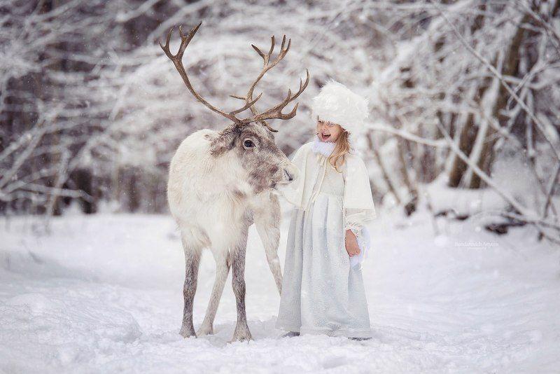 девочка, портрет, снег, зима, олень, сказка, лес, рождество Зимняя сказкаphoto preview