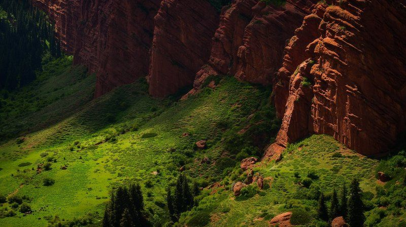 джети-огуз, киргизия, семь быков, красные скалы Красные скалы Джети-Огузphoto preview