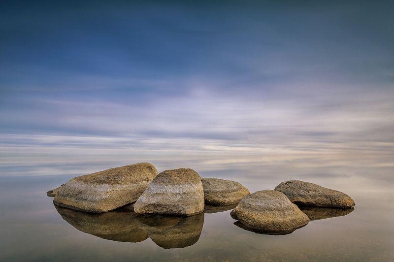 тишина, штиль, закат, камни, вода, озеро ***photo preview