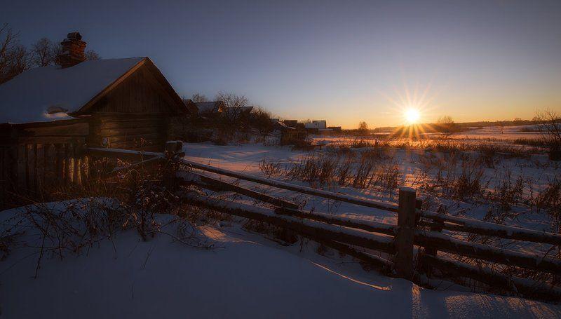 зима, пейзаж, деревня, закат, вечер Зимний январский вечерphoto preview