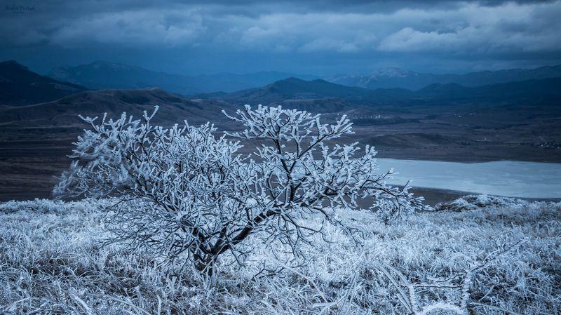 Зима, Крым, утро, рассвет, холод, снег, пейзаж, природа,  Владения Снежной Королевыphoto preview