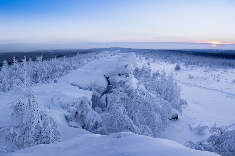 скалы, зима, снег, закат, мороз, Пермский край, Губаха На снежных скалахphoto preview