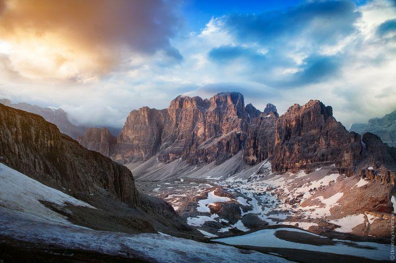альпы, италия, lagazuio, riffugio, пейзаж, горы, закат, вечер А в горах вечерело..photo preview