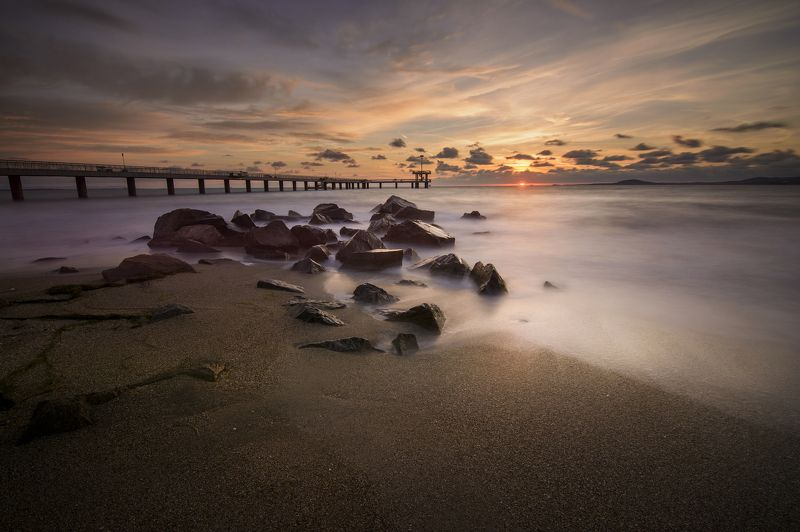 sunrise, beach, bridge, rocks, sea , clouds, beautiful, colorful, incredible, majestic, nikon , tokina Magical Sunrisephoto preview