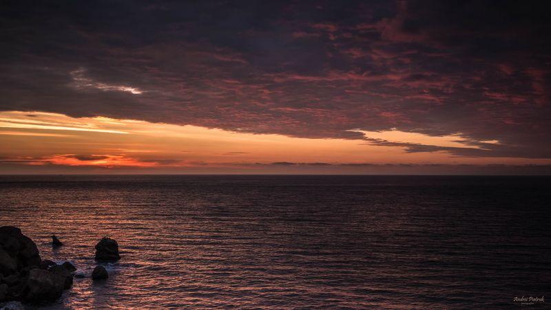 Крым, пейзаж, рассвет, море, солнце, природа, горы, облака Рассвет на мысе Меганом photo preview