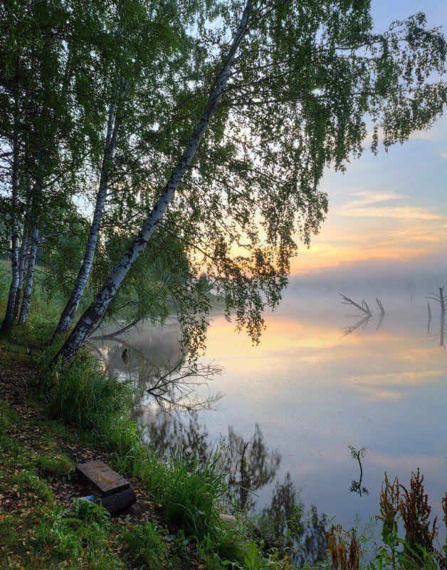 река, рассвет, солнце, берег, утро, лето, берёзы, вода, пейзаж, природа, canon, небо, тишина На берегуphoto preview