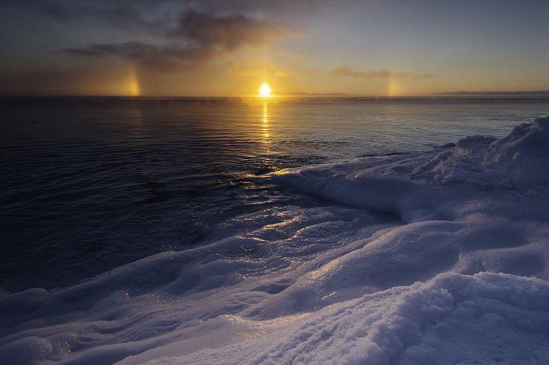 север, пейзаж, гало, море, зима. Зимние закаты у Моряphoto preview