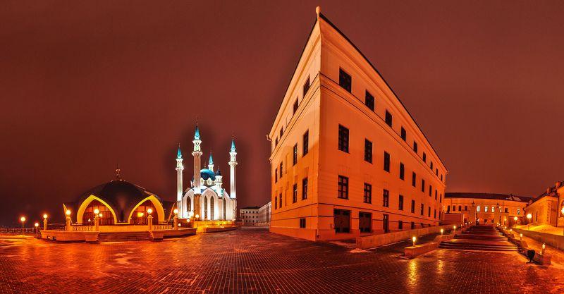 Кремль, Казань, город, Татарстан, панорама, Россия, вечер, зима, Кул-Шариф, музей Казанский кремльphoto preview