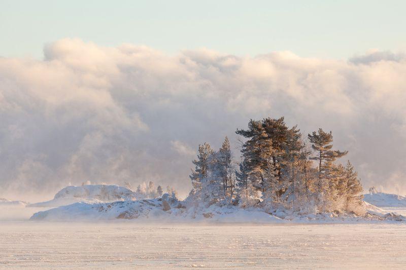 lake, winter, island, Russia, Karjala, Koionsaari, Venää Winterphoto preview