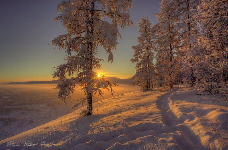 природа, закат, река, горы, закат, зима, снег, мороз, солнце, январь, якутия Зимнее золотоphoto preview