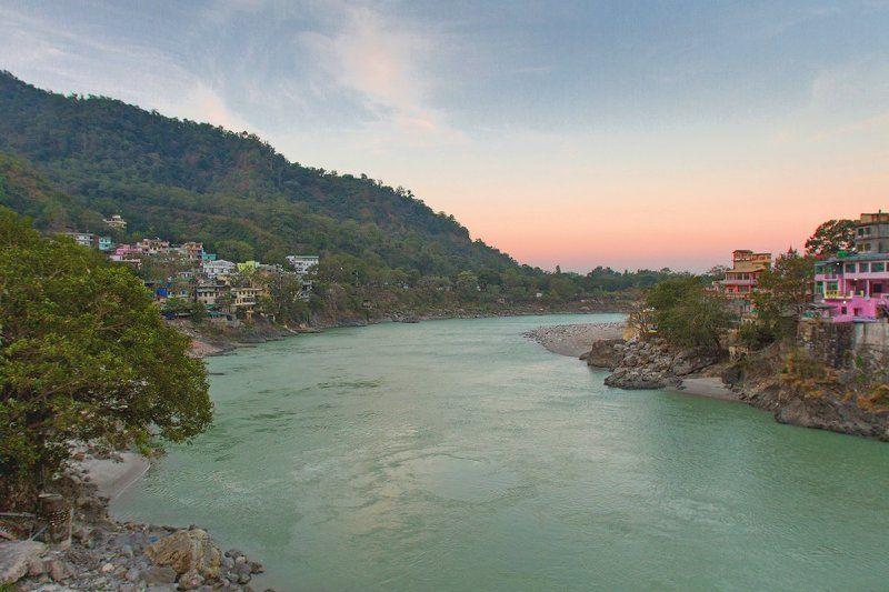 Индия, Ришикеш, Ганга, India, Sunrise, Рассвет Утро с видом на Гангуphoto preview