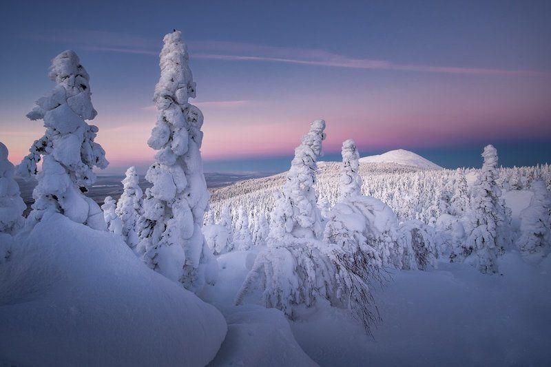 таганай, зима, закат, южный урал Путь в северную странуphoto preview