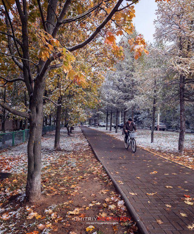 Дубна, Октябрь, Осень, Пейзаж, Природа, Снег Когда выпал первый снег.photo preview