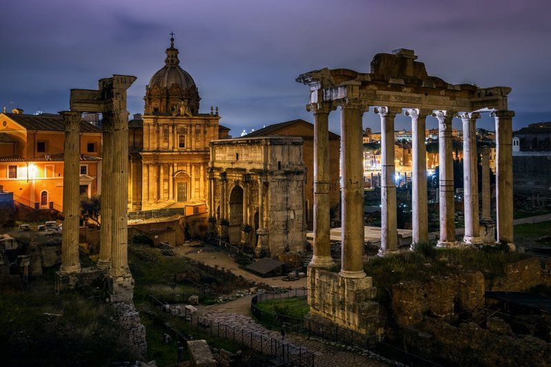 рим, италия, ночь, Tempio di Saturnophoto preview