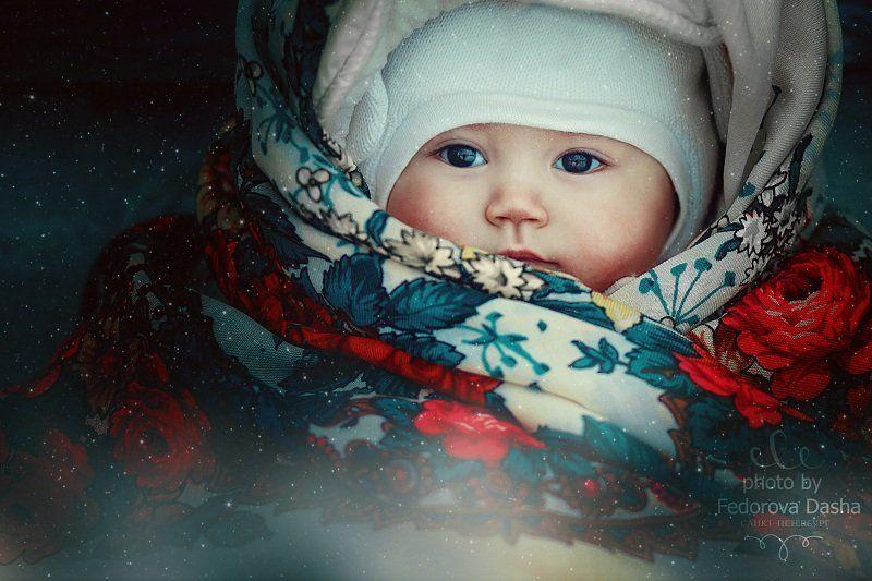 снег, зима, дети, девочка, семья, платок, портрет Ульянаphoto preview