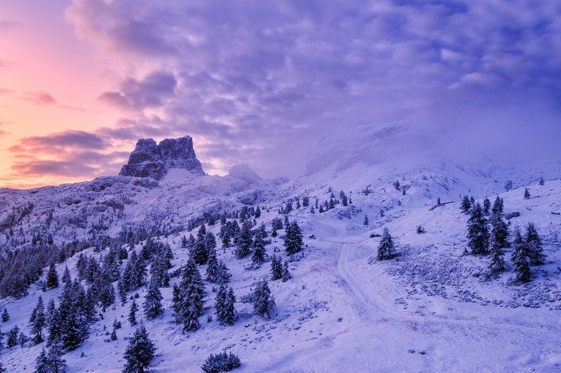 Italy, Dolomites, snow, frozen, winter, clouds, passo Falzarego Dolomitesphoto preview