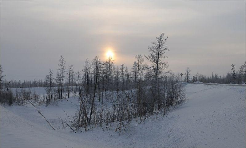 Таймыр,зима,мороз Пейзаж с домикамиphoto preview