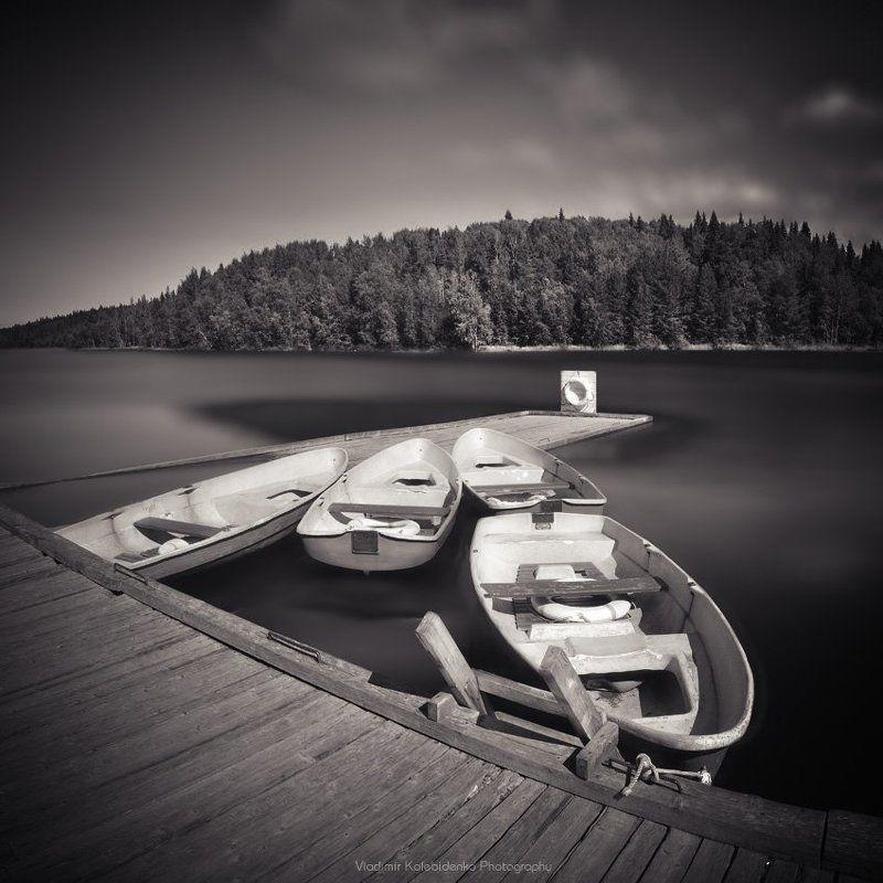 соловки, соловецкий архипелаг, причал, озера, лодка У причалаphoto preview