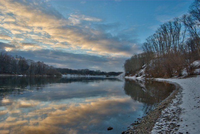 зима, река, облака, отражение Утро декабря (или где взять цвет зимой)photo preview