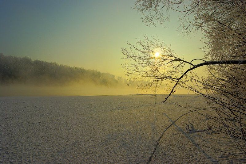 зима, река, иней Утро декабряphoto preview
