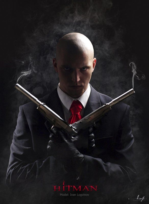 хитмен, лысый, hitman, пистолет, дым Hitmanphoto preview