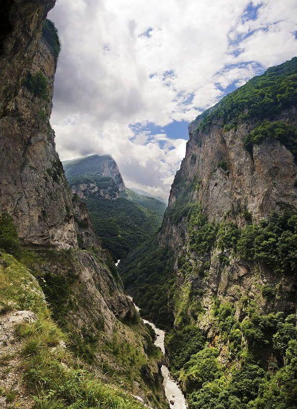 черек-балкарское ущелье, кабардино-балкария, северный кавказ, река черек, панорама Черекphoto preview