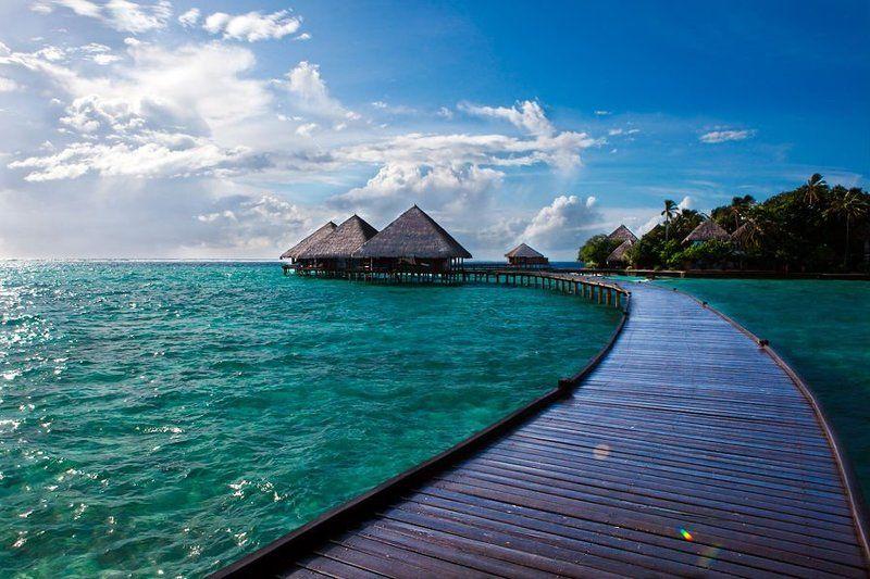 мальдивы, океан, мост, бунгало, пальмы, остров дорога в райphoto preview