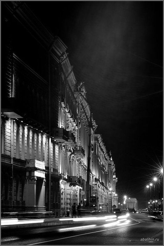 санкт, петербург, ночь, дворцовая, набережная, движение, июль Ночь на Дворцовой набережной 2photo preview