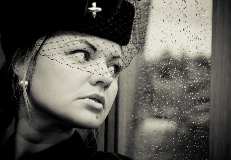 девушка, стекло, капли Прощай...photo preview