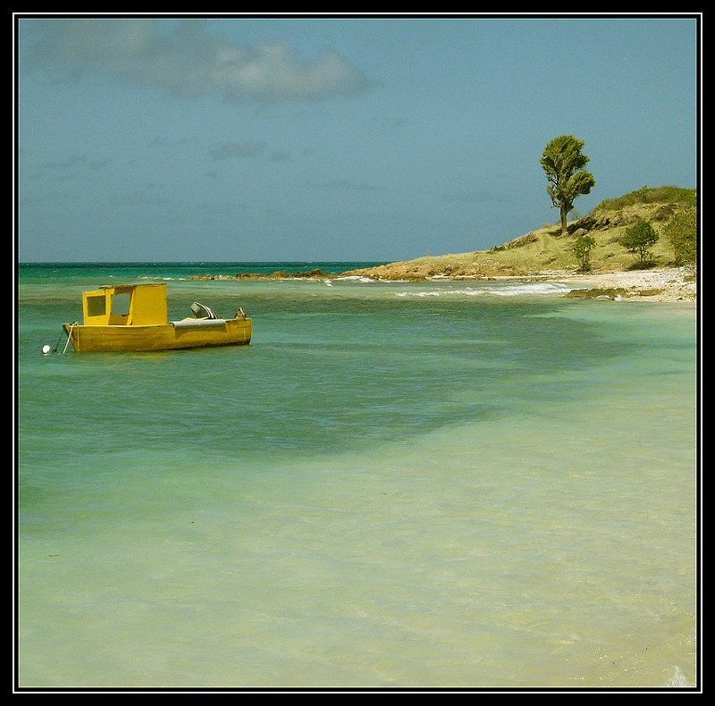 antigua and barbuda,west indies,central america the small yellow boatphoto preview