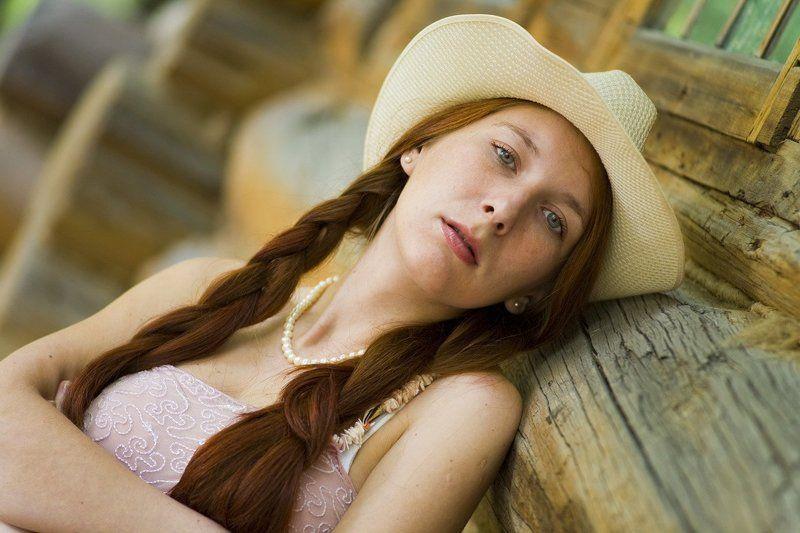кантри, девушка, шляпа, рыжая, изба photo preview