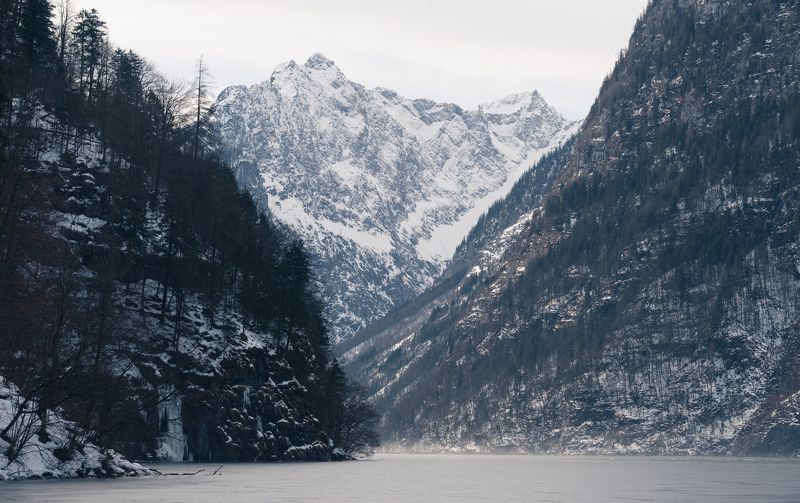 Alps, Germany, winter, frozen, lake, travel The Königssee lake in Bavaria, Germanyphoto preview